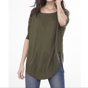 Express green Extreme circle hem tunic sweater XS